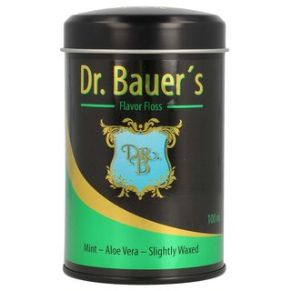 Dr. Bauers Premium Dental Floss 100m in stylish black metal box with lid, refillable, with mint taste - Aloe Vera - slightly waxed