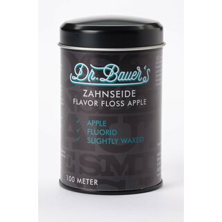 Dr. Bauers Premium Dental Floss 100m in stylish black metal box with lid, refillable, black dental floss with apple flavour - with fluoride - lightly waxed