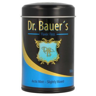 Dr. Bauers Premium Dental Floss 100m in stylish black metal box with lid, refillable, with arctic mint taste - slightly waxed