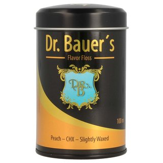Dr. Bauers Premium Dental Floss 100m in stylish black metal box with lid, refillable, with peach taste - CHX - slightly waxed